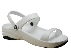Women's Premium 3-Strap Sandal, White / Black