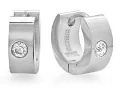Stainless Steel 5mm Huggie w/ Crystal