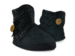 MUK LUKS® Short Speckled Ribbed Slipper Boot, Black