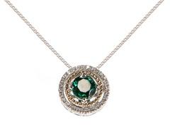 Silver & 14k Gold Emerald Pendant