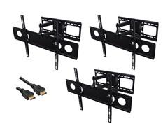 """3pk Articulating Wall Mount 32-62"""" TVs w/ BONUS 12' HDMI"""