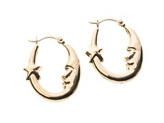 14kt Gold Moon/Star Hoop Earrings, Gold