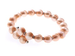 Freshwater Pearl and Bead Bangle Bracelet, Pink