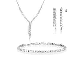 Beverly Hills Silver 40 Cttw White Gold Jewelry Set
