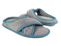 Muk Luks Ada Micro Chenille Cross Cross Slippers, Grey