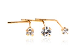 14k Yellow Gold  w/ Swarovski Zirconia Bent Nose Wire 3pc set