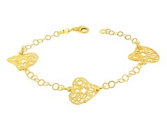 18k Plated Hearts Rolo Chain Bracelet
