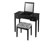 Vanity Set Black w/Leopard Fabric