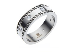 Stainless Steel & CZ Double Wire Ring