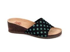Lea Slide Wedge Sandal, Turquoise