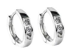 Sterling Silver Simulated Diamond Huggies