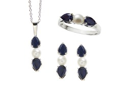 Sterling Silver, Sapphire & Pearl Set