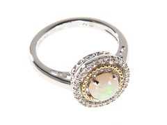 Silver & 14k Gold Opal Ring