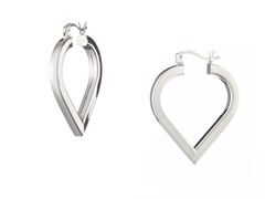 18k White Gold Plated Square Heart Hoops