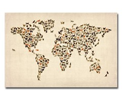 World Map of Cats 18x24 Canvas