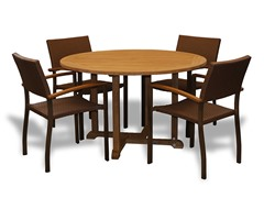 48-Inch Table, 4 Bronze Armchairs