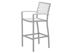 Euro Bar Chair, Silver/White