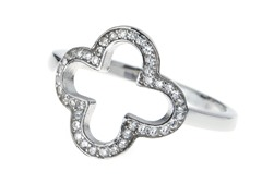 Sterling Silver & CZ Diamond Clover Ring