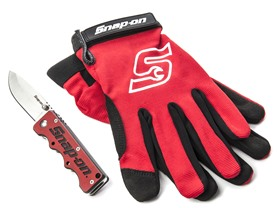 Folding Knife and Large Work Gloves Combo, Red