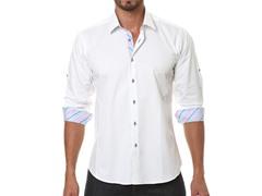 Jared Lang Dress Shirt, White/Blue Stripe