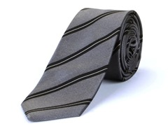 Silk Tie, Grey w/ Black Stripes