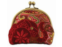 Boho Elephant Kiss Lock Pouch, Red