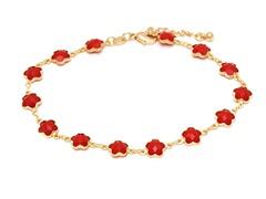 18K GP White Coral Anklet Bracelet