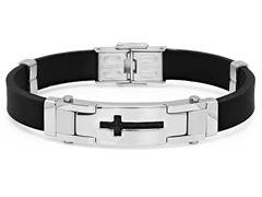 Men's Rubber Bracelet with Cross Leather
