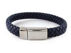 Fancy Genuine Navy Blue Braided Leather Buckle Bracelet
