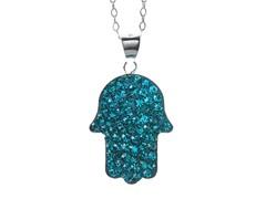 SS Hamsa Blue Crystal Pendant w/ Chain