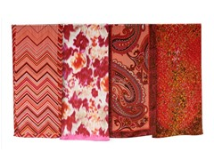 4-Pack Silk Scarves, Floral/Carmine