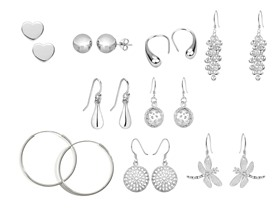 Sterling Silver 9 PC Pair Earring Set