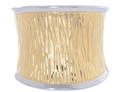 14K Gold Plated Stainless Steel Textured Wide Cuff Bangle
