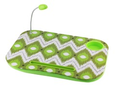 Laptop Cushion - Green & White Zig-Zag