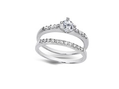 18kt White Gold Plated CZ Engagement Set