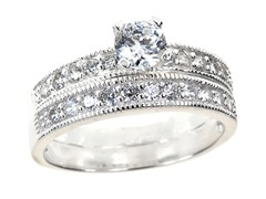 18kt WG Plated SS Traditional Engagement Ring Set