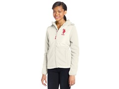 USPA Jrs Hooded Polar Fleece Jacket, Oat