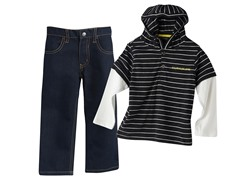 Hooded Top & Jeans Set - Blk/Wht (12M-7)