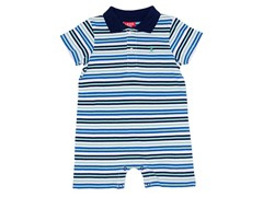 Blue/White Polo Romper (0-12M)