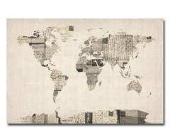 Vintage Postcards World Map Canvas