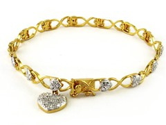 Gold Plated SS Diamond Accent Heart Charm Bracelet