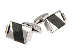 Polished SS & Black Carbon Fiber Cufflinks