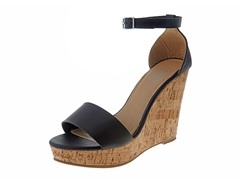 Carrini Ankle Strap Wedge Sandal, Black