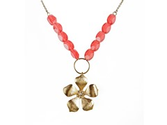 Relic Flower Pendant Pink Beaded Necklace, Gold