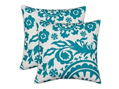 Suzani Turquoise 17x17 Pillows - Set of 2