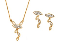 Gold/White Swarovski Elements Leaf Vine Drop Set