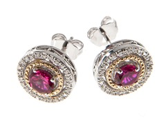 Silver & 14k Gold Ruby Earrings
