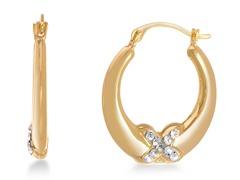 18K Yellow Gold Overlay Hoop Earring