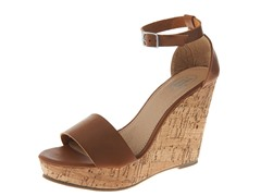 Carrini Ankle Strap Wedge Sandal, Cognac