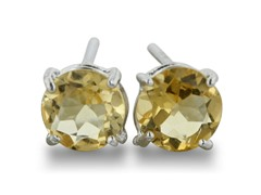 2ct Round Citrine Earrings In Sterling Silver